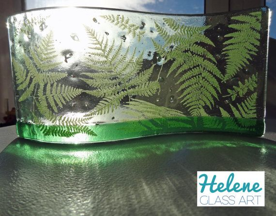 Green Forest Fern Hand-Made Fused Glass by heleneglassart on Etsy