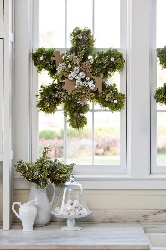 Schneeflocke aus Tanne als Fensterdeko...