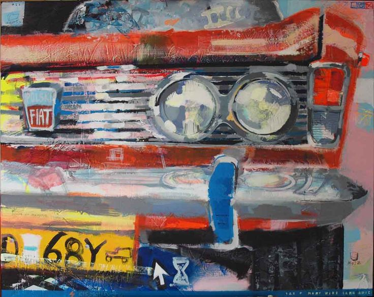 """fiat 125p"" by Mary Wide Lake 100x80cm akryl na płótnie"