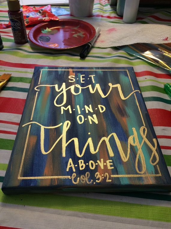 Items Similar To Hand Lettered Bible Verse Canvas Quotes Painting Wall  Hanging Sign Blue, Orange U0026 Gold Calligraphy Typography Wall Art Wall Decor  Home ...