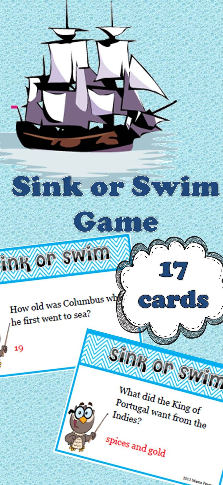 """Sink or Swim"" game with Christopher Columbus!  Your students will love playing this game to show off what they know about Christopher Columbus. $"