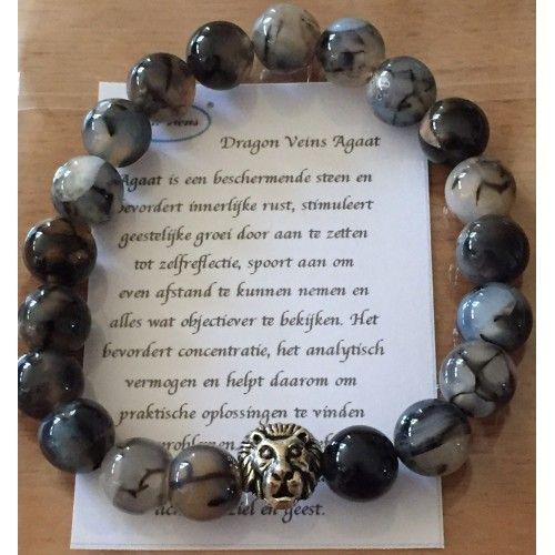 Heren armband Agaat dragon veins  Agaat is een beschermende steen en bevordert innerlijke rust, stimuleert geestelijke groei  door aan te zetten tot zelfreflectie, spoort aan om even afstand te kunnen nemen en alles wat objectiever te bekijken.