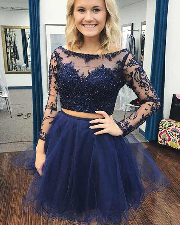 b8d707f7eacf5 Navy Blue Beading Two Piece Embroidery Homecoming Dress with Long ...