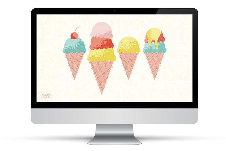 These adorable ice cream cones look good enough to eat! Click through to download this free wallpaper for your phone, tablet, and computer. by Sarah Hearts