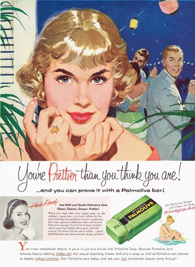 Oh my, look how she's caught his eye!  Old glamorous gum branding/positioning ... yes, she's caught his eye and mine, Marcie Fleischman