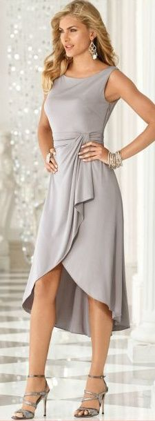 Dance under the moonlight with this silver cocktail dress and matching chandelier earrings. - dresses, purple, cortos, quinceanera, flower girl, winter dress *ad