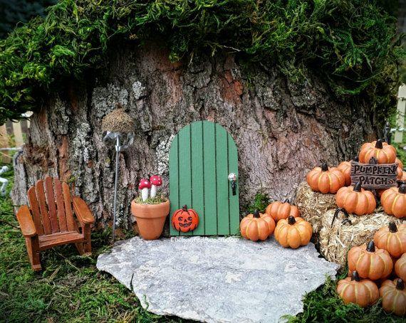 TINY Pumpkin Halloween Fairy Garden Green Pixie Door - Miniature Fairy Garden Accessory