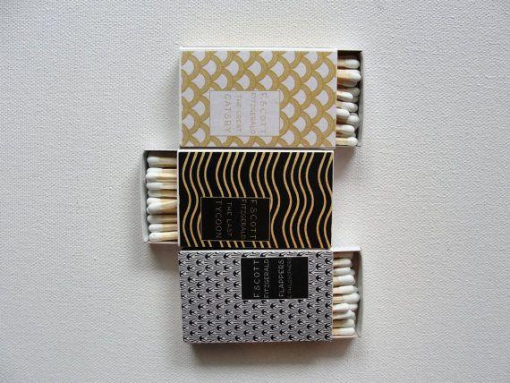 Matchboxes / F. Scott Fitzgerald Mini Books / Set of 12 / 1920s Art Deco / Metallic Shimmer / Wedding Party Favors / Gatsby