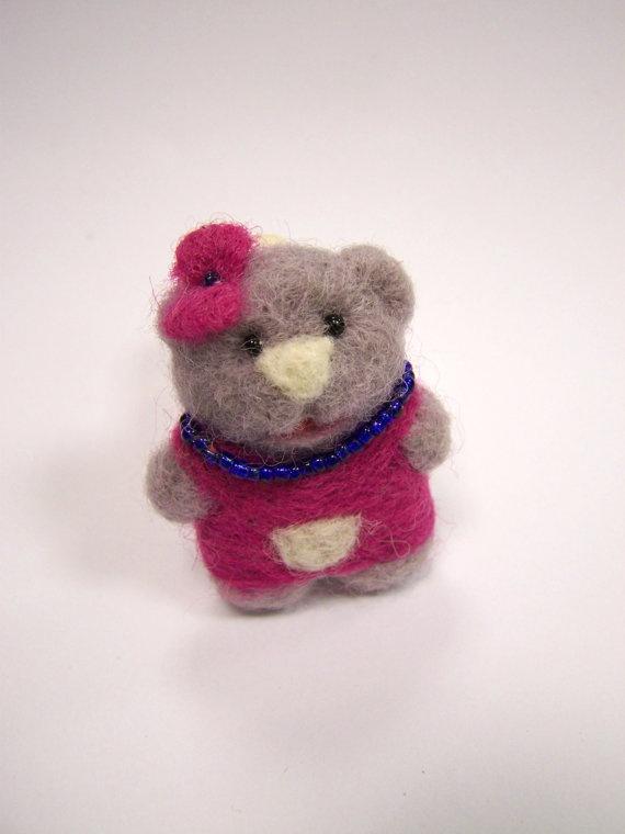 Needle feltedteddy bear broochfelt bear miniature with by ArteAnRy, €10.00