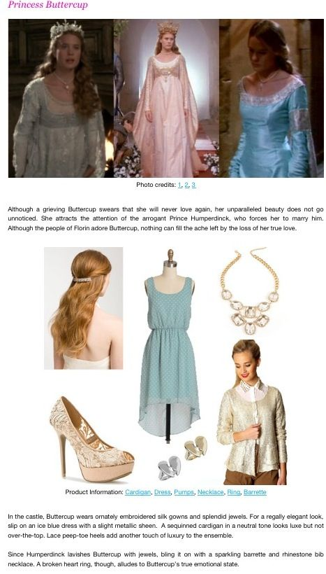 Outfit inspired by Princess Buttercup (Princess bride)