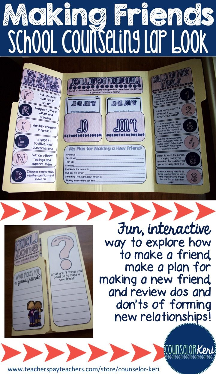 How to make a friend lap book! Explore easy steps, dos and don'ts and make a plan for forming a new friendship! -Counselor Keri