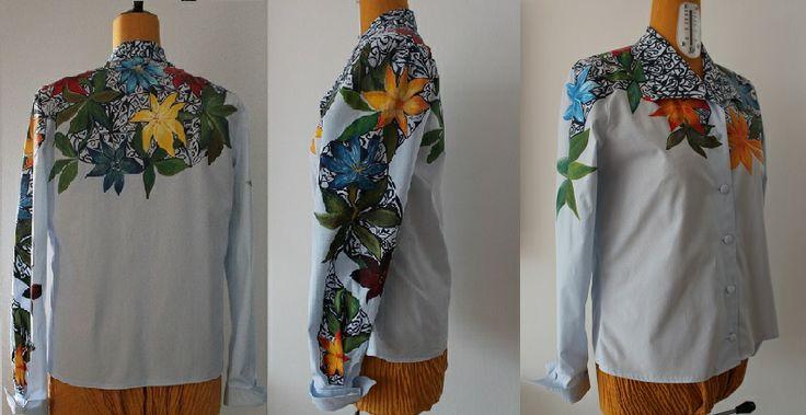 painting, flowers, colors, blouse, shirt, woman