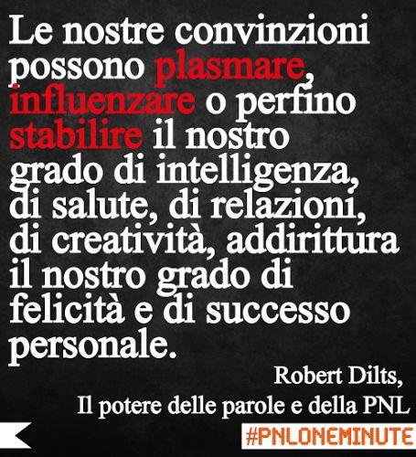 Le nostre convinzioni possono plasmare, influenzare o perfino stabilire il nostro grado di intelligenza, di salute, di relazioni, di creatività, addirittura il nostro grado di felicità e di successo personale. #RobertDilts #PNL
