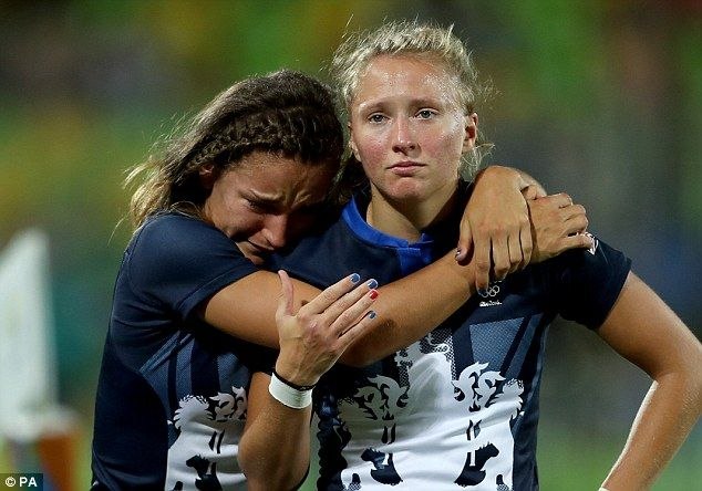 Great Britain's Rugby Sevens playersJasmine Joyce (left) and Emily Scott are left dejected after the final whistle in Rio meant they missed out on a bronze medal at Rio 2016