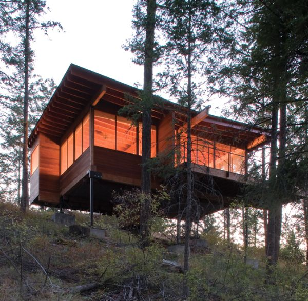 Small cabin on stilts at flathead lake from below by Log cabin homes on stilts