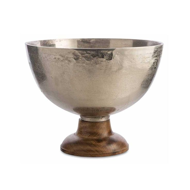Aluminium Round Champagne Bucket/Bowl with Wooden Base