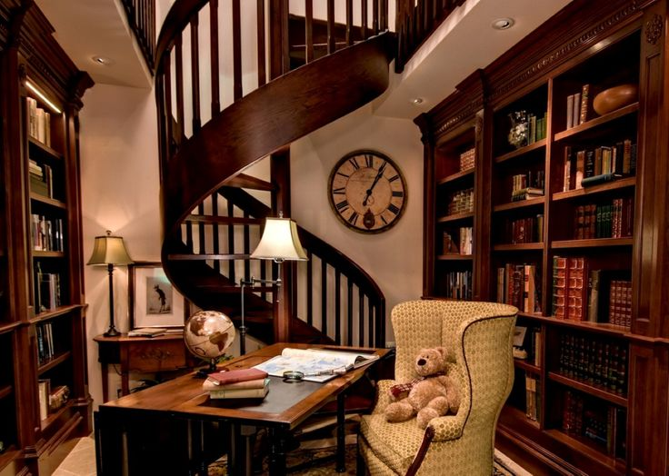 Home libraries libraries and home library design on pinterest for Private library design