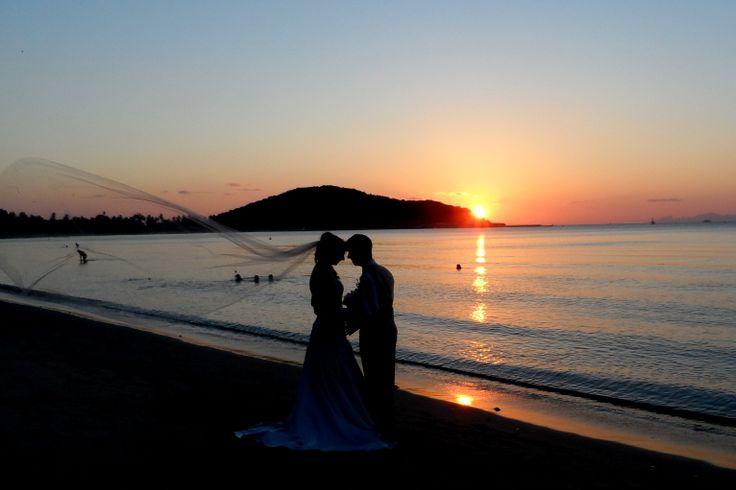 Thai beach weddings call for ethereal long flowing veils