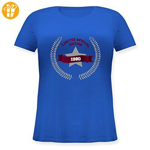 Geburtstag - 1980 Limited Special Edition - S (44) - Blau - JHK601 - Lockeres Damen-Shirt in großen Größen mit Rundhalsausschnitt - Shirts zum geburtstag (*Partner-Link)