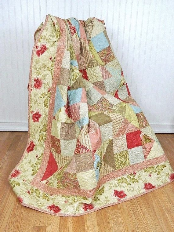 10% OFF Sale through 12/7 Throw Quilt Autumn Lily by QuiltPetaler