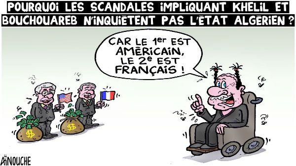 Pourquoi les scandales impliquant Khelil et Bouchareb n'inquiètent pas l'état algérien ?, Caricature de Aïnouche du 07-04-2016   Presse-dz