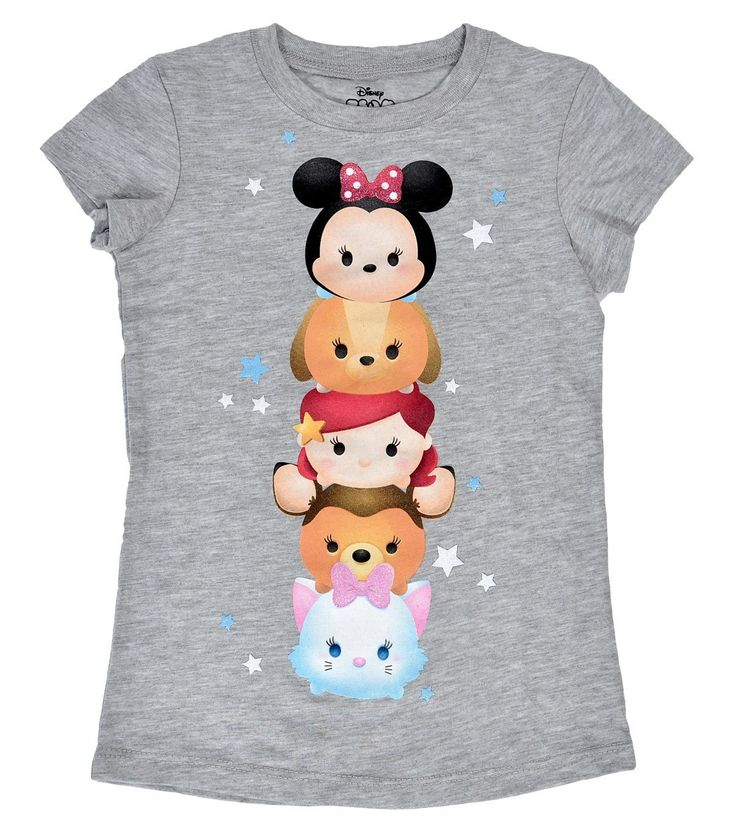 - Gray Tsum Tsum Stacked Like a Totem Pole Girls Tee - Featuring Minnie Mouse and other popular Disney characters. - 100% cotton - soft and lightweight - Officially Licensed by Disney! - For girls 4 t