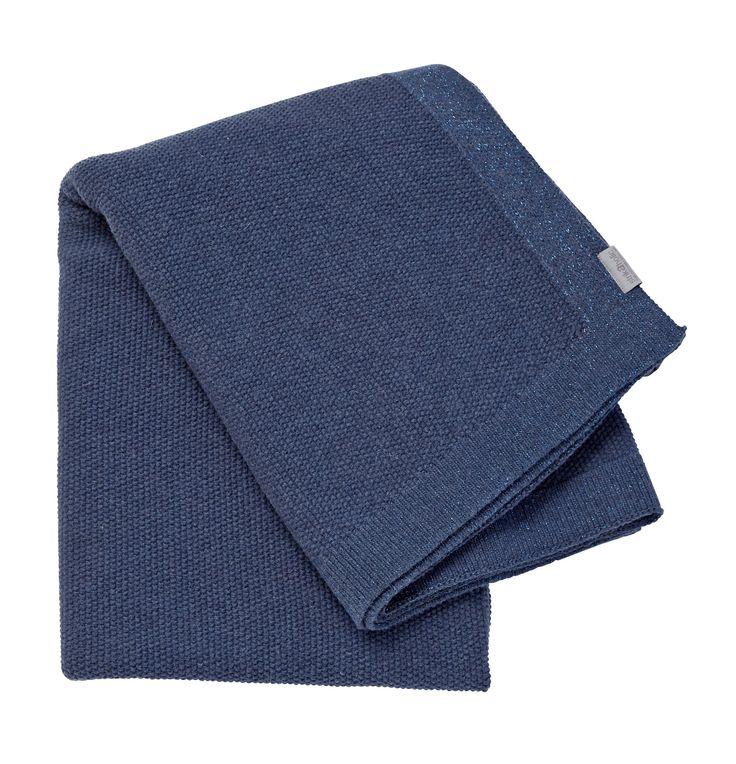 SeedStitch blanket, blue/glitter