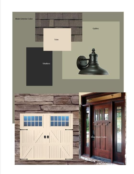 Exterior Mood Board Body is Connected Gray, Gables are Svelte Sage and Trim is Lotus Pond