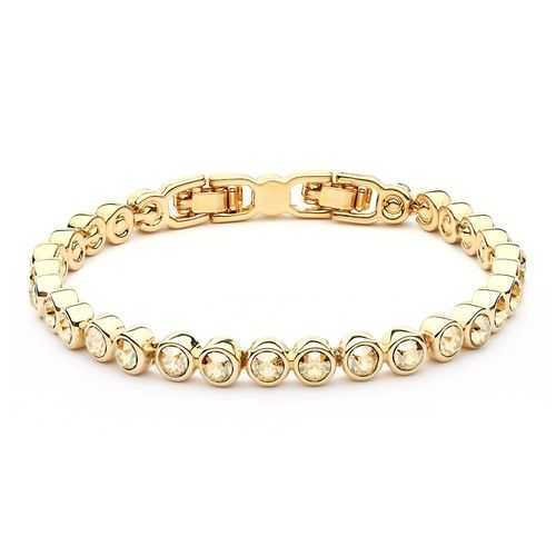 Tennis Bracelet with Golden Shadow Swarovski® Crystals Gold Plated