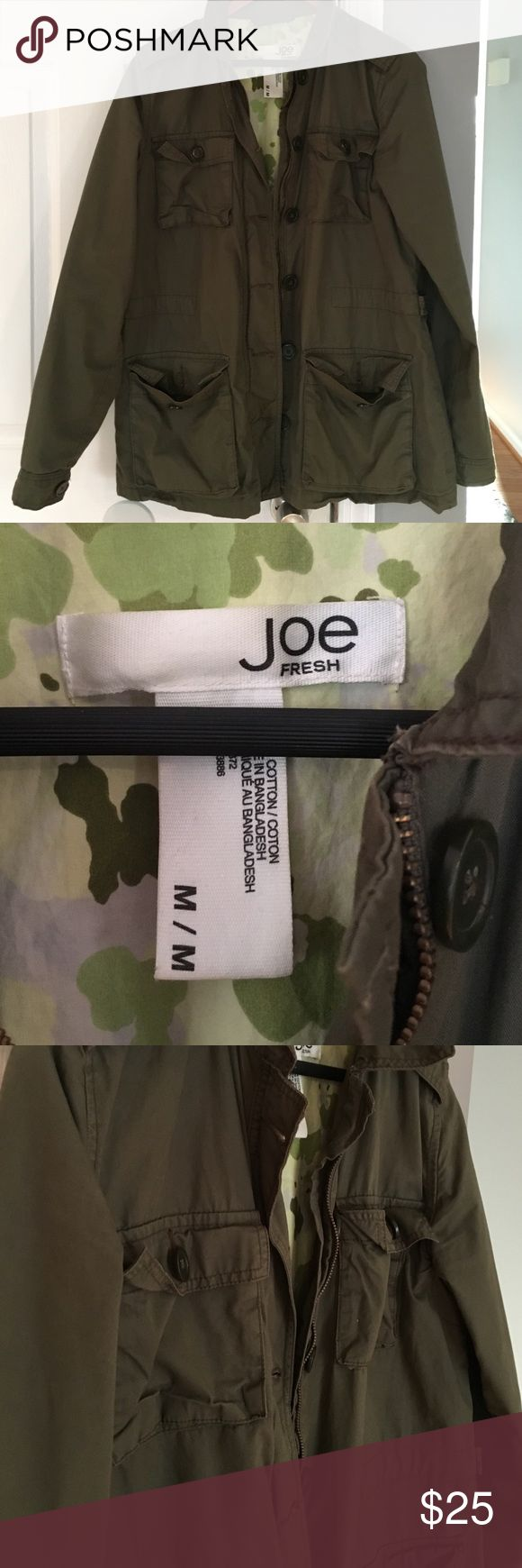 Joe Fresh Army Green Military Jacket Great condition! Spring staple, ❤❤ Joe Fresh Jackets & Coats Utility Jackets