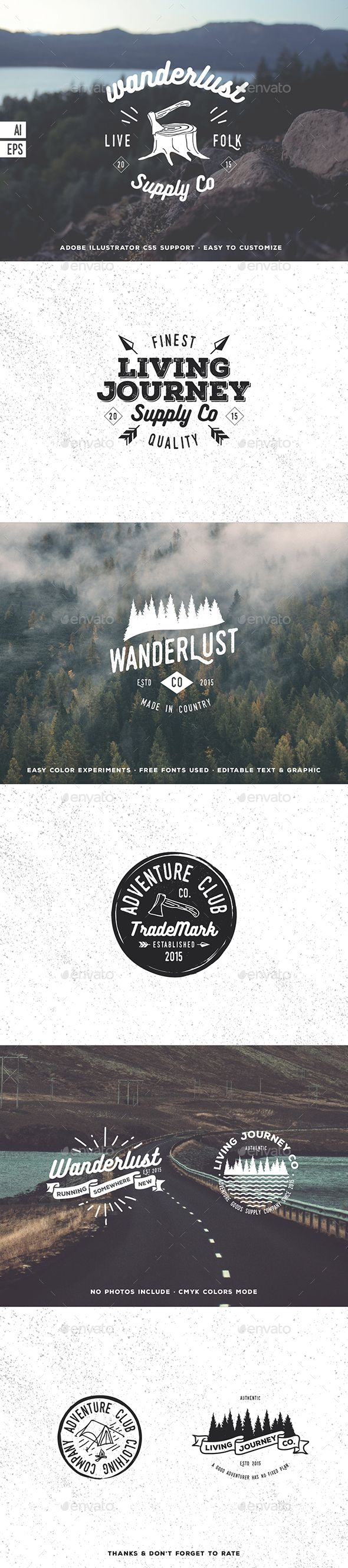 Hiking Hipster Badges Template Vector EPS, AI #design Download: http://graphicriver.net/item/hiking-hipster-badges/14319769?ref=ksioks