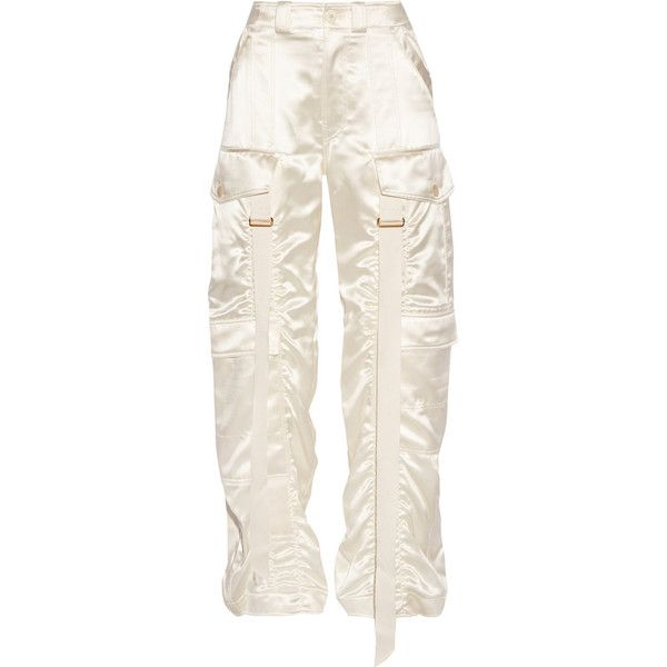 Balenciaga Silk-blend satin straight-leg pants ($1,975) ❤ liked on Polyvore featuring pants, bottoms, ivory, satin pants, white satin pants, white straight leg pants, balenciaga and relaxed fit cargo pants