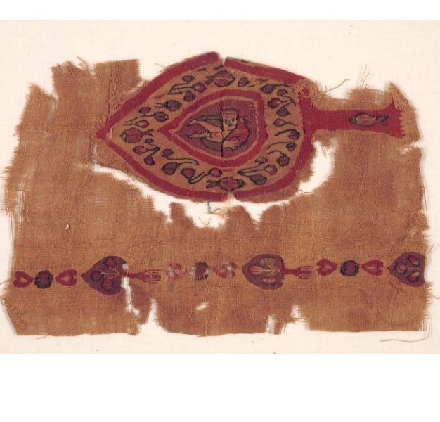 Fragment from a Curtain, Materials:tabby weave with inwoven tapestry ornament, linen and wool. P...