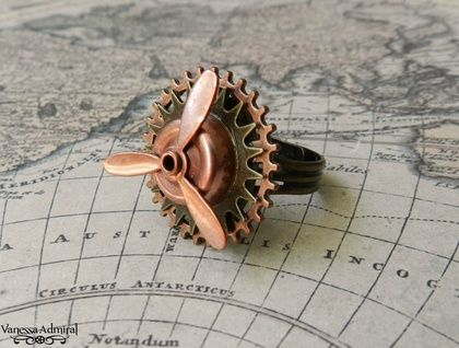 Fascinating Copper Steampunk Geared Propeller Ring
