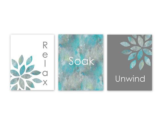 Bathroom Wall Art Relax Soak Unwind Home Decor by HLBhomedesigns