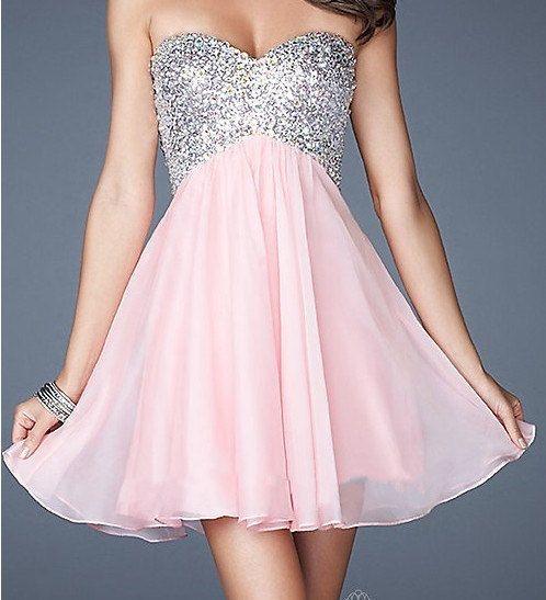 Short Prom Dress, A-line Sweetheart Mini Chiffon Prom Dress 2014-Criss-cross Back on Etsy, $55.00