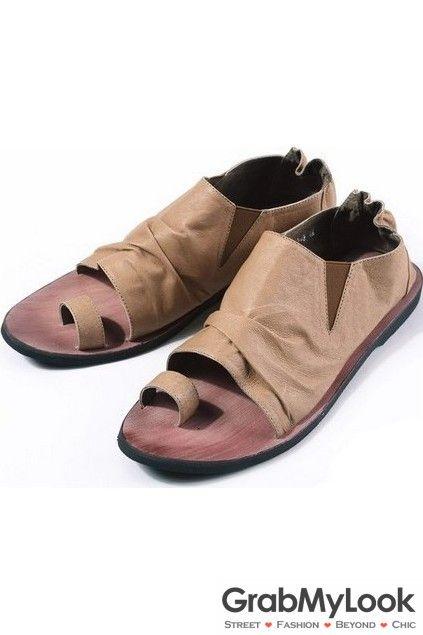 GrabMyLook Brown Leather Open Toe Thumb Bottie Gladiator Roman Men Sandals Flip Flops