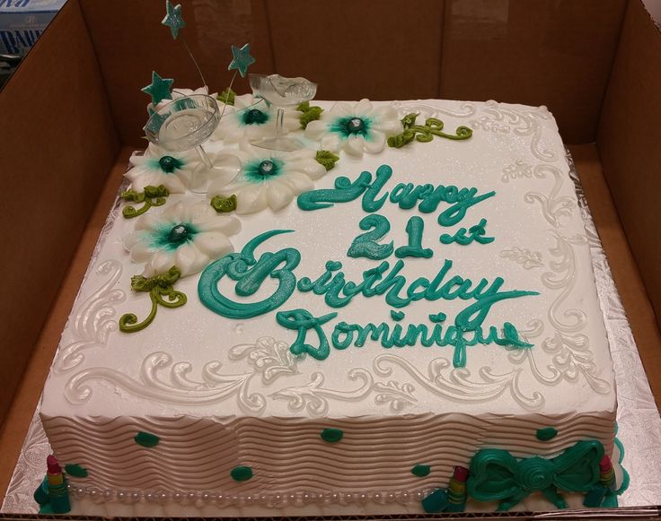 Images Of Square Birthday Cake : Calumet Bakery 21st Birthday Cake Square Cake Milestone ...