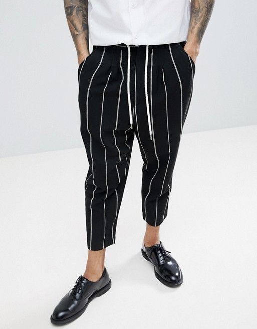 cc6843ae4b90 DESIGN drop crotch tapered smart pants in black waffle with white ...