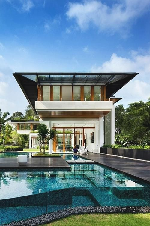 Glass walled pool.