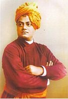 A 1893 Scanned Image of Swami Vivekananda. Born Narendra Nath Datta, Swami Vivekananda was an Indian Hindu monk. He was a key figure in the introduction of Indian philosophies of Vedanta and Yoga to the western world and was credited with raising inter-faith awareness, bringing Hinduism to the status of a major world religion in the late 19th century. He was a major force in the revival of Hinduism in India and contributed to the notion of nationalism in colonial India.