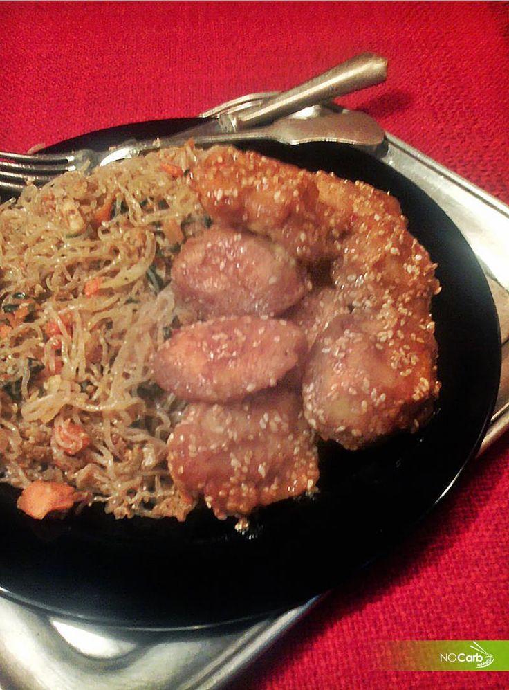 NoCarb Noodle - szénhidrátmentes receptek - Kínai szezámmagos csirke csípős-édes bundában