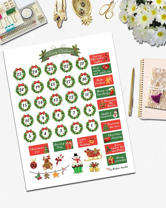 Christmas Countdown Planner Stickers/Printable Planner Stickers/Erin Condren PLanner Stickers/Winter Planner Stickers/Instant Download