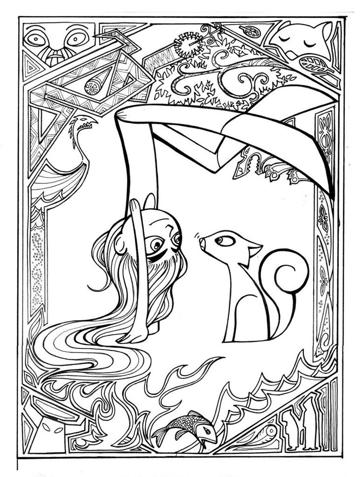 i am in the process of colouring this _ easily my favorite movie of the new century is the secret of kells aisling and pangur wip