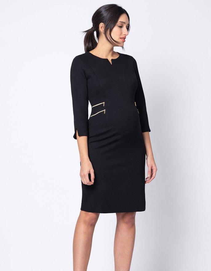 61638a0e1d8 Elegant Black Zip Detail Maternity Dress