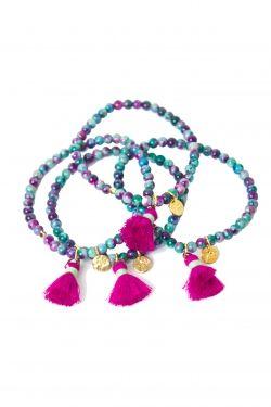 Bracelet pompoms pierres semi précieuses