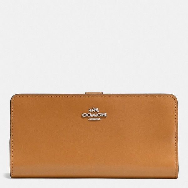Coach Skinny Wallet ($150) ❤ liked on Polyvore featuring bags, wallets, calfskin wallet, credit card holder wallet, snap wallet, planet bags and galaxy bag