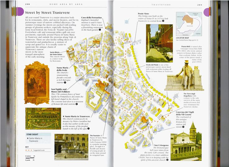 Theme: Thoughtful Discovery. Dorling Kindersley (DK) travel books. Knows travelers well, engaging and entertaining how it shows maps, museums, etc.