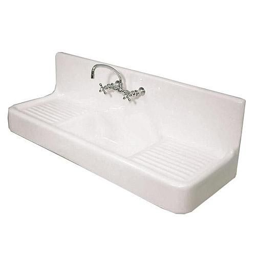 Love this cast iron farmhouse drainboard sink from Van Dyke's Restorers