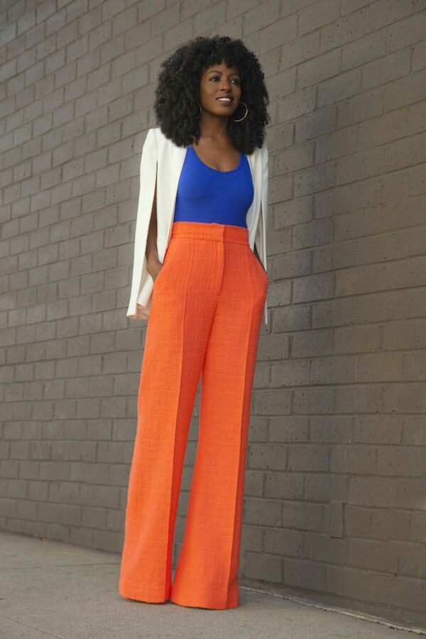 Style pantry. Bright high waist trousers